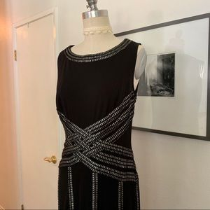 Tadashi Shoji Jersey Gown with Foil Print Detail
